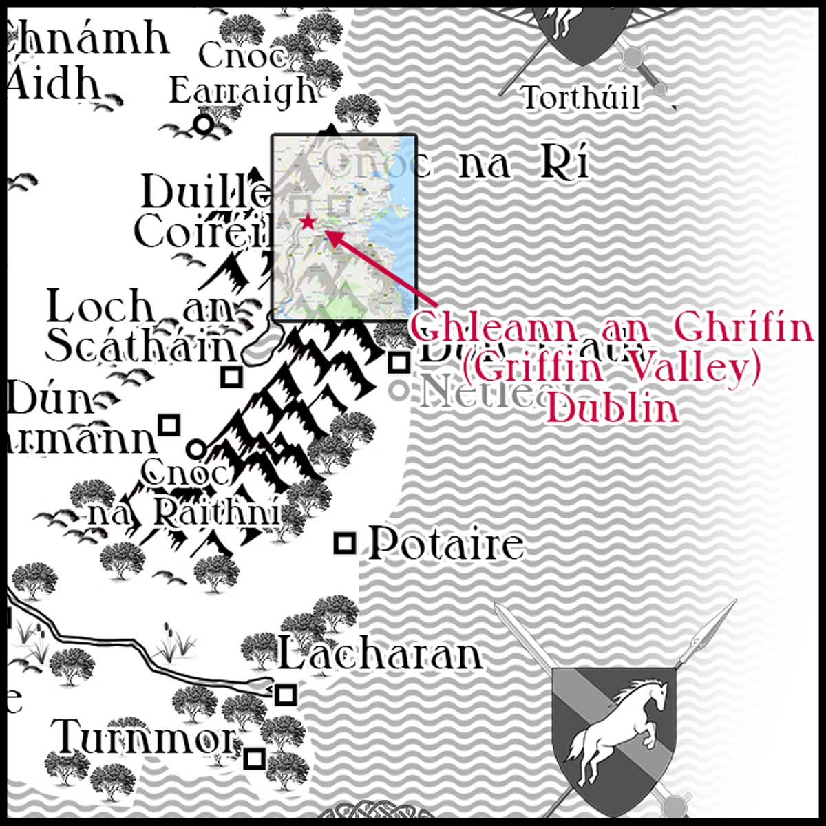 Rathúnas's River Valley and griffin roost serendipitously match the exact location of Ireland's Ghleann an Ghrífín or Griffeen Valley / Griffin Valley